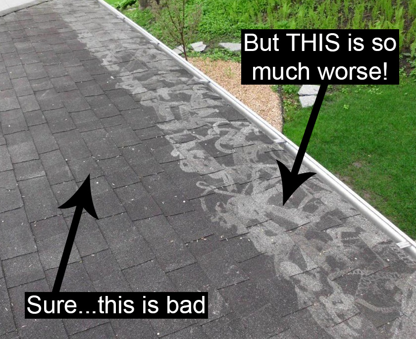 Image showing power washing done badly and VERY badly