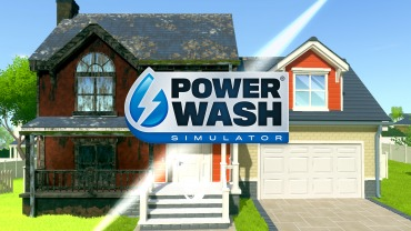 Image of a half dirty half clean detached house with the powerwash simulator logo